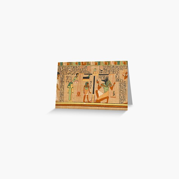 Egyptian Art: Weighing of the Heart in the Duat using the feather of Maat as the measure in balance Greeting Card