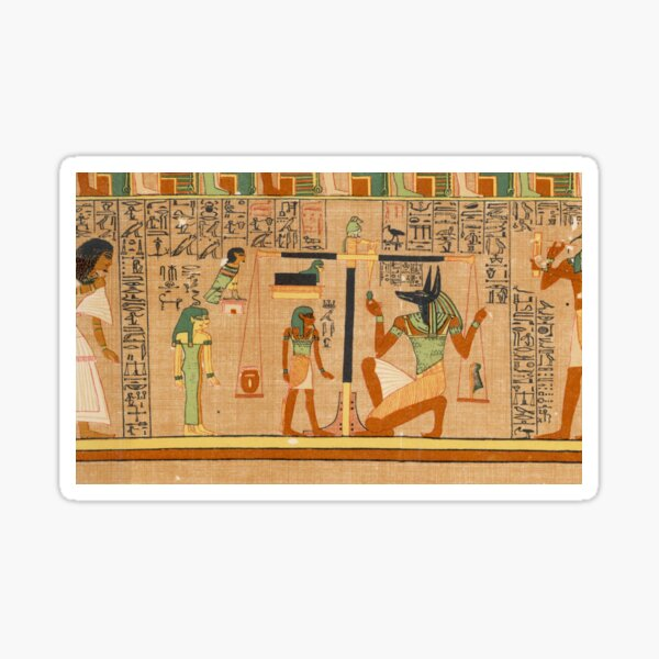 Egyptian Art: Weighing of the Heart in the Duat using the feather of Maat as the measure in balance Sticker