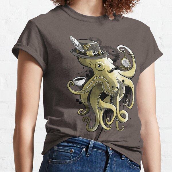 Acuarela de oro de pulpo Steampunk Camiseta clásica