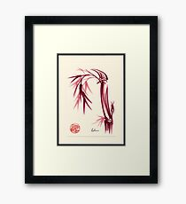 """Lovely""  zen bamboo brush painting Framed Print"