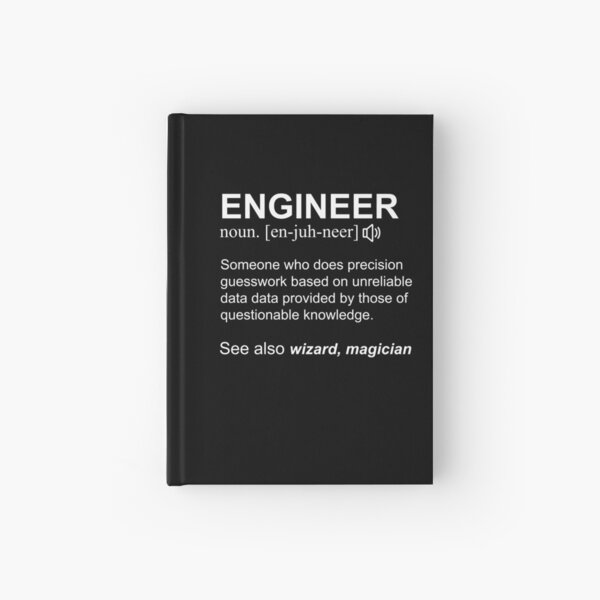 Engineer Definition White Text Design Hardcover Journal