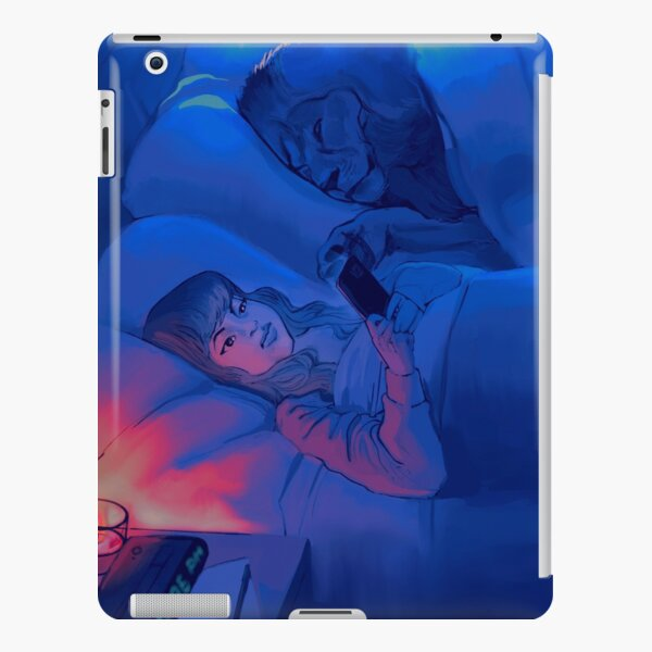 """""""scrolling"""" peaceful night with lion pet graphic illustration moonlit bed iPad Snap Case"""