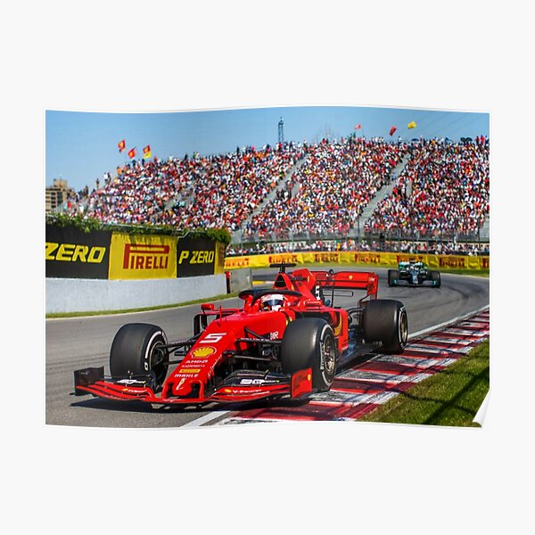 Sebastian Vettel beim Grand Prix von Kanada 2019 Poster