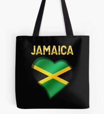 Jamaica - Jamaican Flag Heart & Text - Metallic Tote Bag