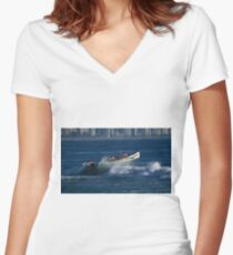Burleigh Heads - Mowbray Park Surf Boat Crew In Action #2 Women's Fitted V-Neck T-Shirt