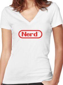 Nerd Women's Fitted V-Neck T-Shirt
