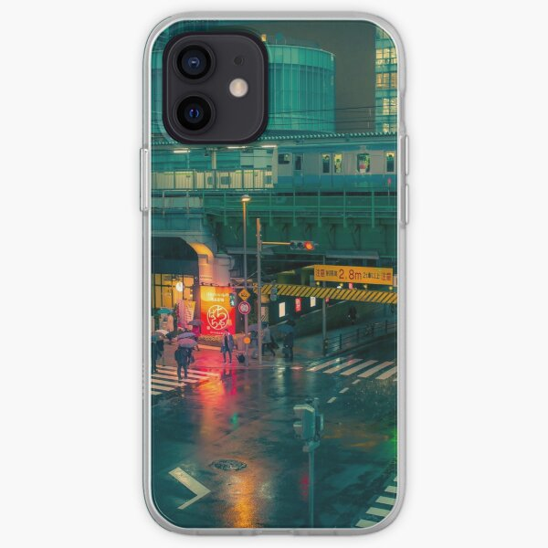 Rainy night in Neo Tokyo Matrix vibe with green and orange light reflection iPhone Soft Case
