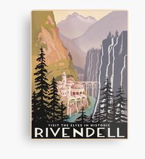 Fantasy valley travel poster Metalldruck