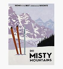 Vintage ski mountain poster Photographic Print