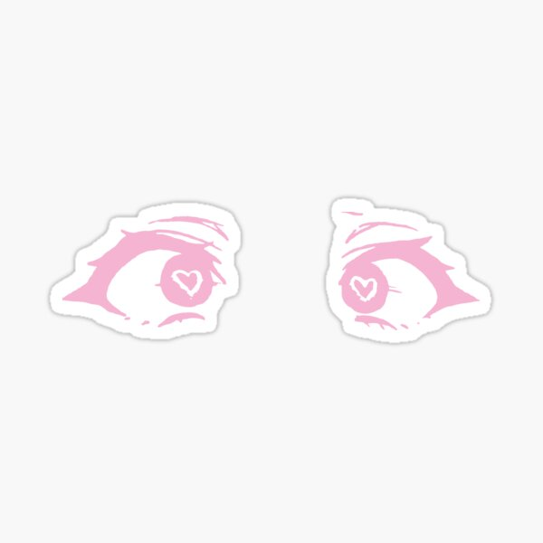 anime coeur yeux - rose Sticker