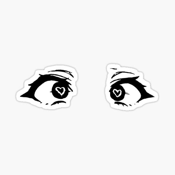 Ojos de corazón de anime- negro Pegatina