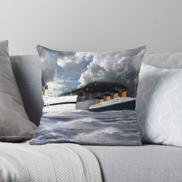 RMS Titanic and her Sister the HMHS Britannic early 20th century Throw Pillow