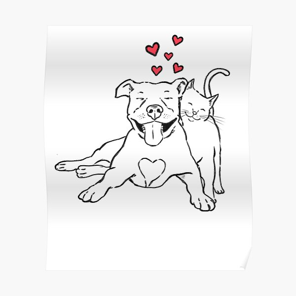 Pitties & Kitties, Pitbull and Cat Lovers Poster