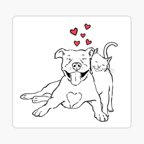 Pitties & Kitties, Pitbull and Cat Lovers Sticker