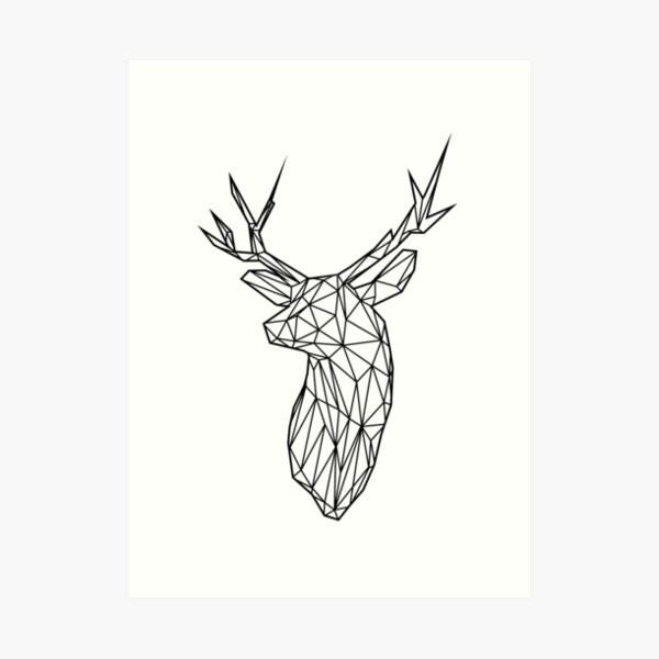 Black Wire Faceted Stag Trophy Head Art Print