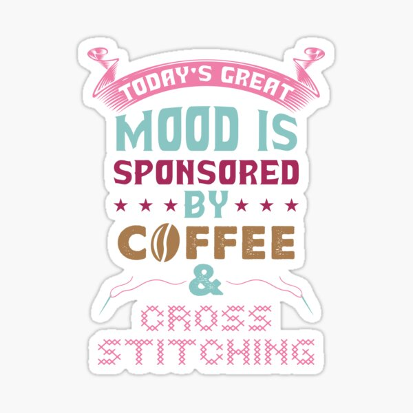 Cross Stitch & coffee Sticker
