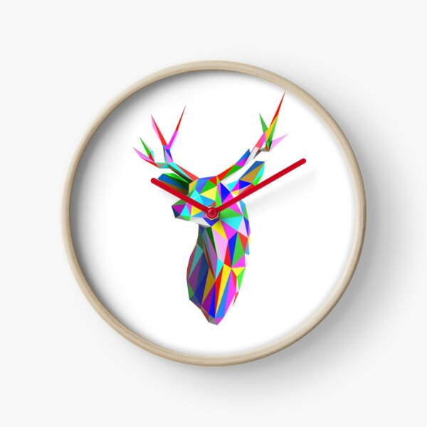 Coloured Faceted Stag Trophy Head Clock