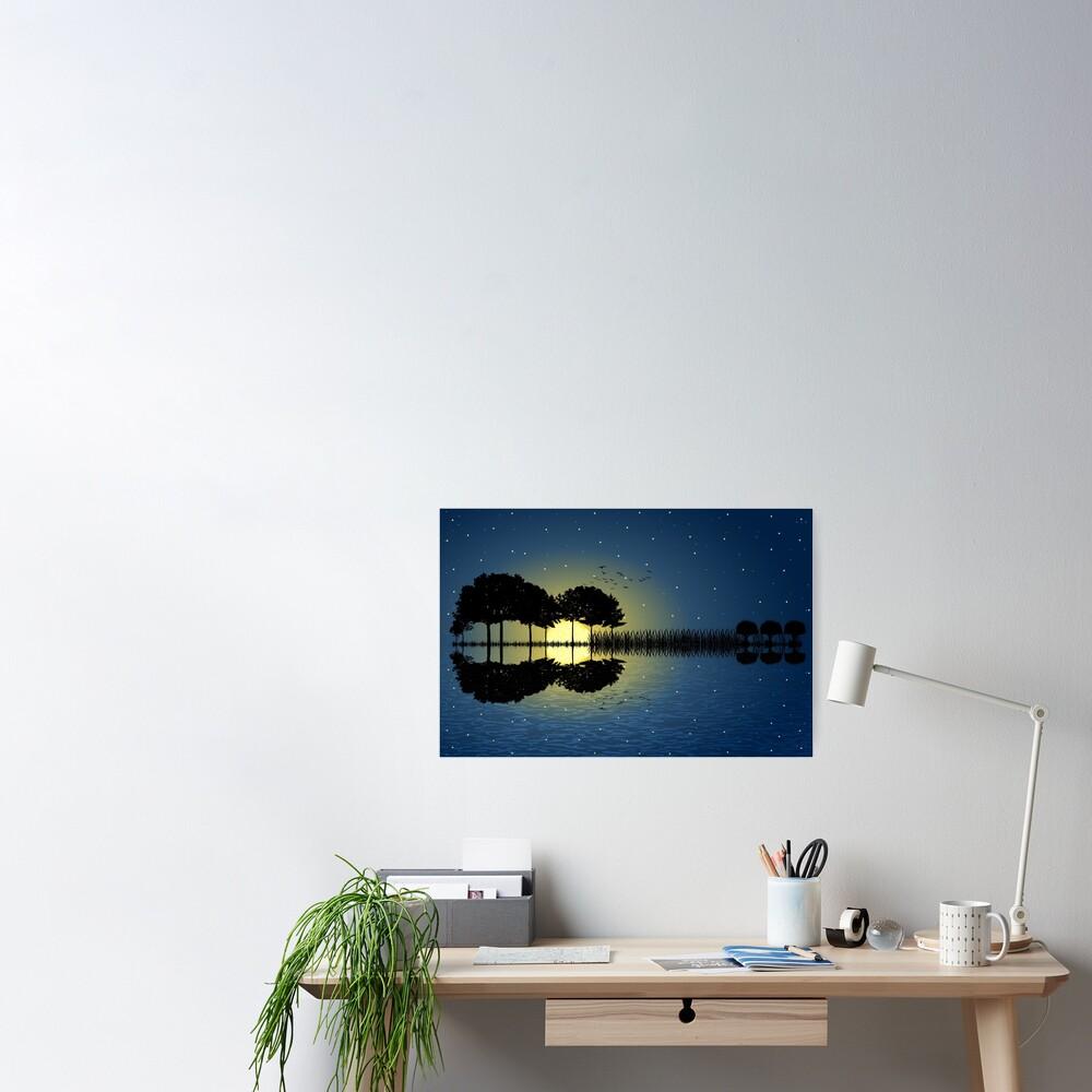 guitar island moonlight illustration Poster