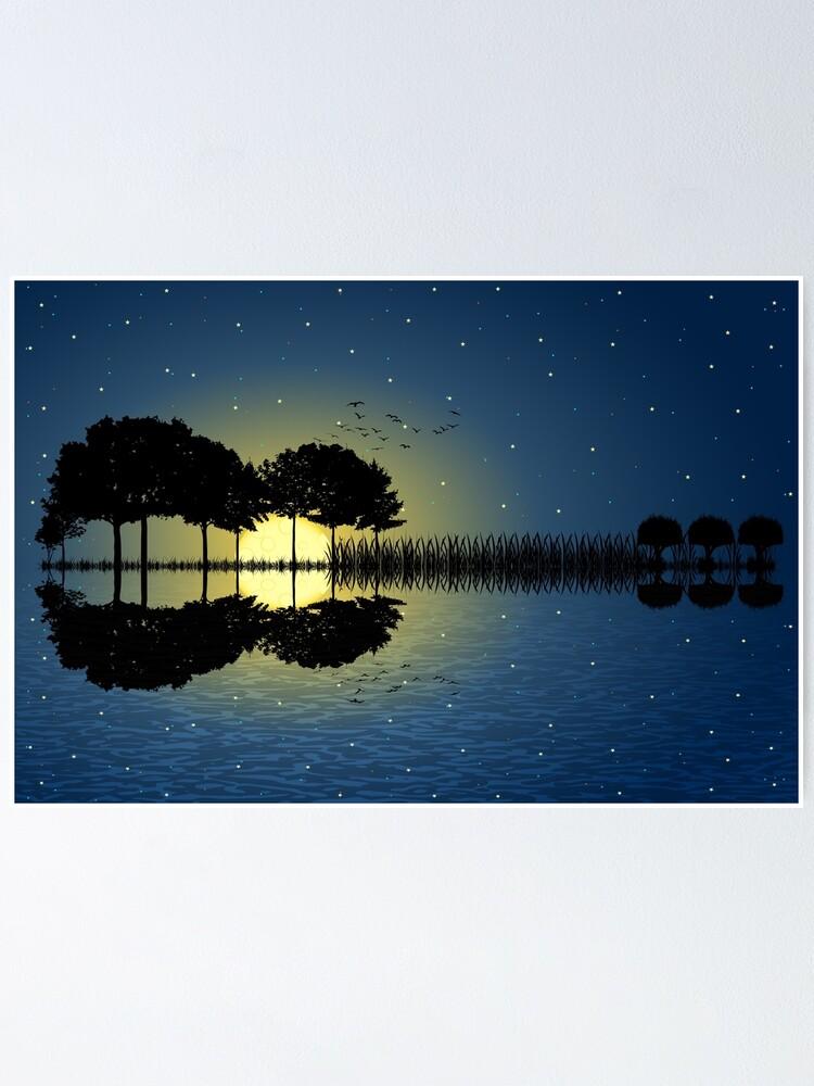 Alternate view of guitar island moonlight illustration Poster