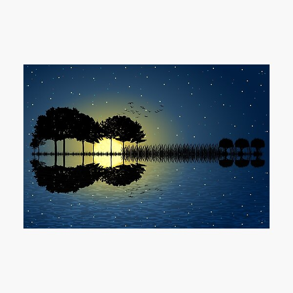 guitar island moonlight illustration Photographic Print