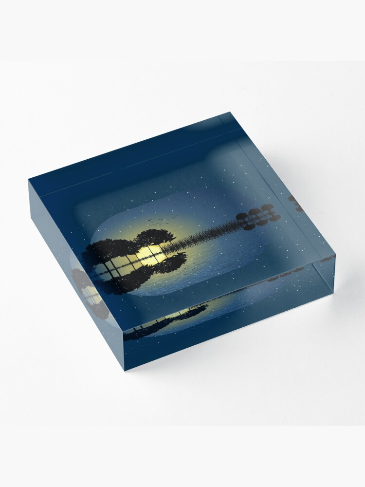 Alternate view of guitar island moonlight illustration Acrylic Block