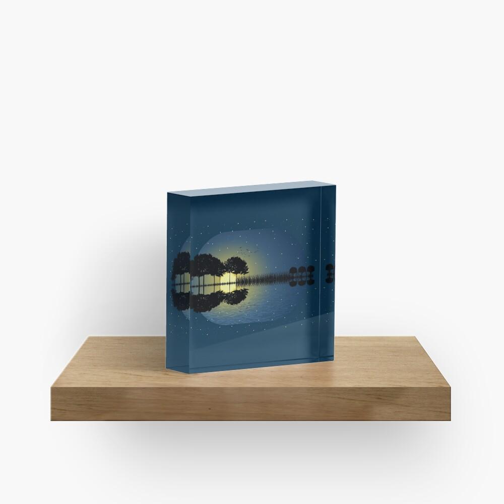 guitar island moonlight illustration Acrylic Block