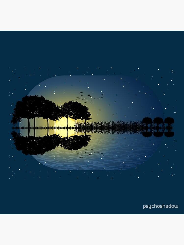 guitar island moonlight illustration by psychoshadow