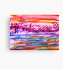 Winter by the fence line and pond, watercolor Canvas Print