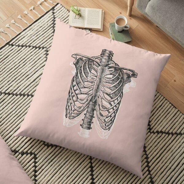 Anatomical Ribcage • Pastel Pink • Pastel Goth Floor Pillow