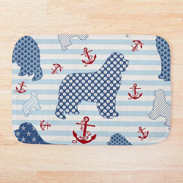 Nautical Newfie Pattern Bath Mat