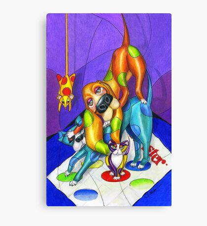 Twister Game, by Alma Lee Canvas Print