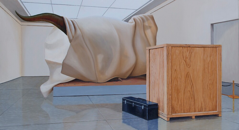 Museum X (Shrouded), Oil on Linen, 51x91cm. by Jason Moad