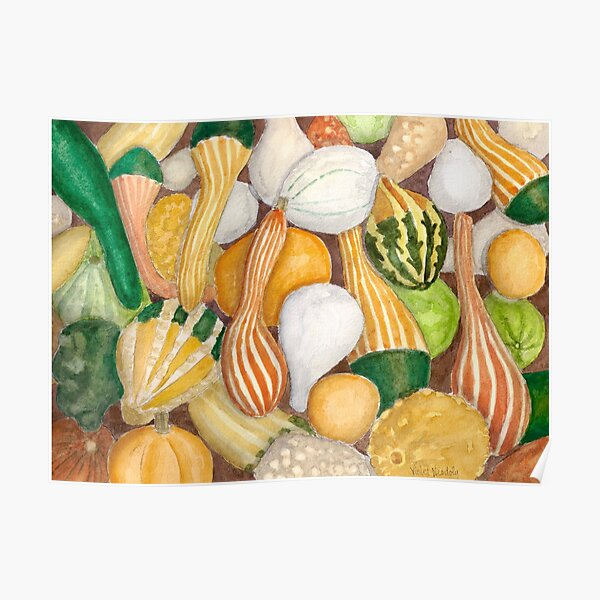 Fall Gourds - Realistic Watercolor  Poster