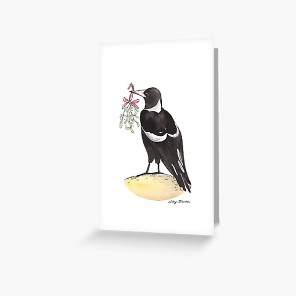 Christmas Magpie Greeting Card