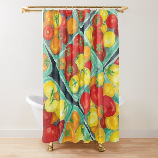 Tomato Time - Realistic Watercolor Shower Curtain