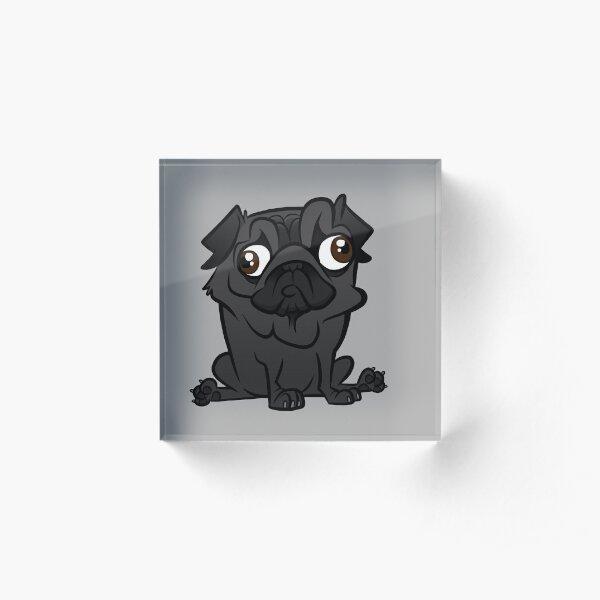 Black Pug Acrylic Block