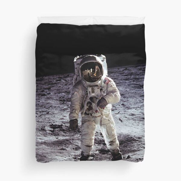 Buzz Aldrin on the Moon Duvet Cover