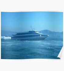 A sleek ferry powering along Poster