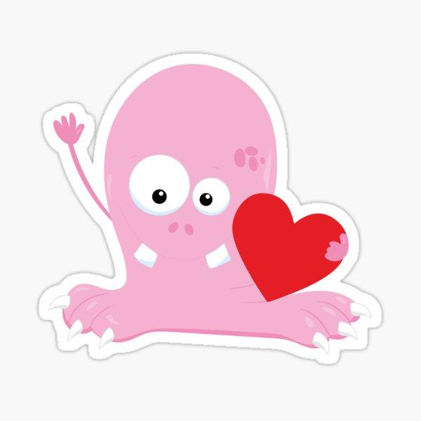Valentines Day Monster Loves You Much Much Sticker