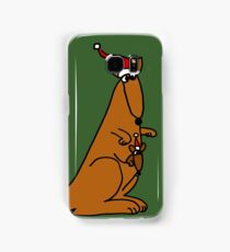 Funny Cool Christmas Kangaroo with Santa Hat Samsung Galaxy Case/Skin