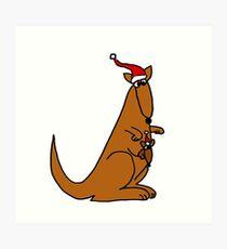Funny Cool Christmas Kangaroo with Santa Hat Art Print
