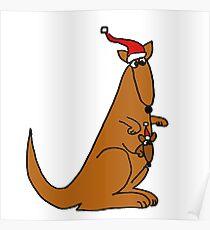 Funny Cool Christmas Kangaroo with Santa Hat Poster