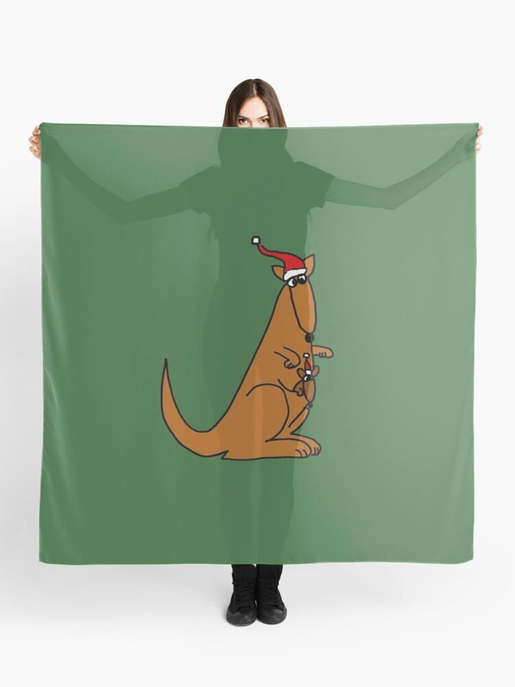 Christmas Kangaroo Cartoon.Funny Cool Christmas Kangaroo With Santa Hat Scarf