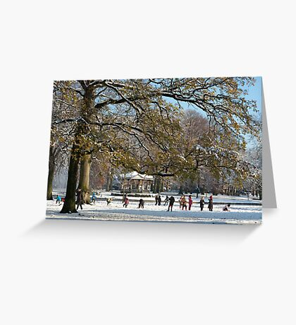 Snow fun under the tree Greeting Card