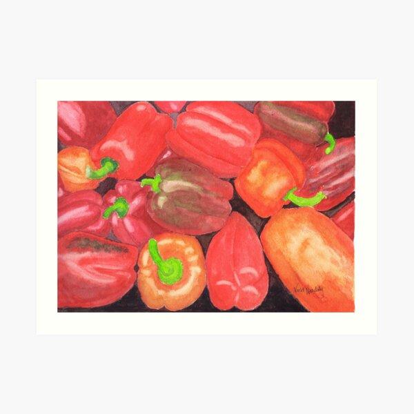 Sweet Peppers - Realistic Watercolor Art Print