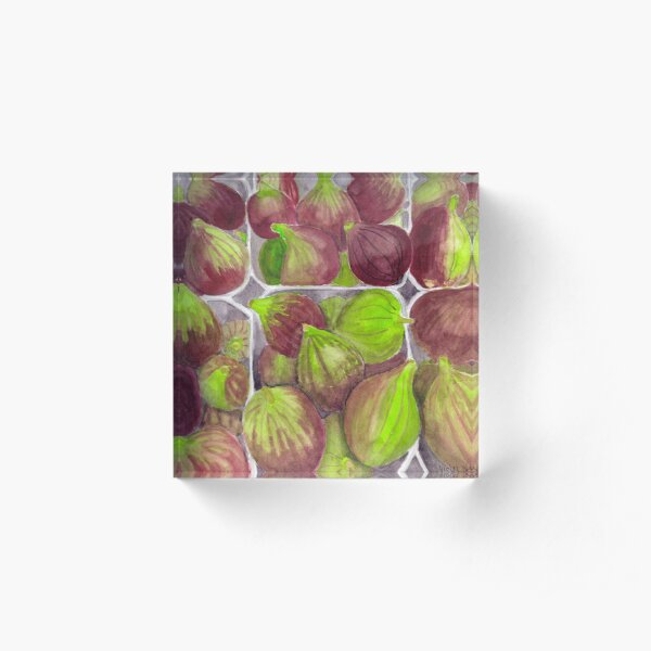 Jerusalem Figs - Realistic Watercolor Acrylic Block
