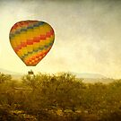 Hot Air Balloon Flight over the Southwest Desert Fine Art Print  by Bo Insogna