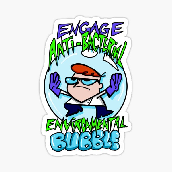 """Dexter from Dexter's Laboratory™ """"Engage Anti-Bacterial Environmental Bubble"""" Quote Sticker"""