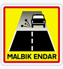 End Of Tarred Road, Traffic Sign, Iceland Sticker