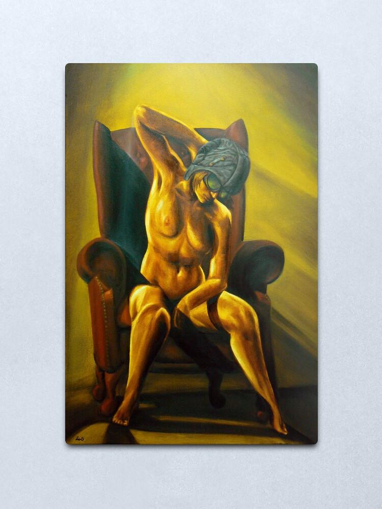 Alternate view of Aviatrix - Steampunk Nude art Metal Print